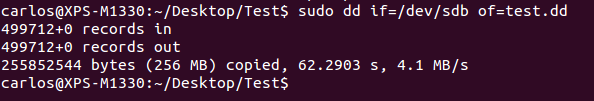 This action will copy all the sectors on the media into a file named test.dd into our current directory, which is the Test folder.