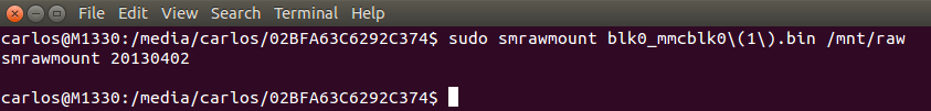 Sudo gives smrawmount superuser privileges for the operation.